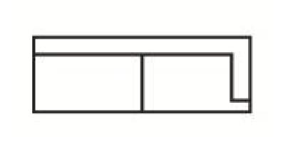 Krajní třímístný díl s napojením na levou stranu Medarda  Š 177 cm x V 82 cm x H 92 cm