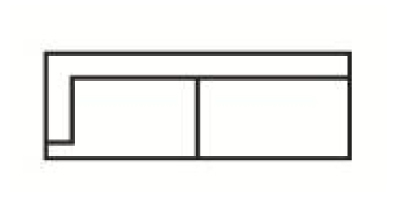 Krajní třímístný rozkládací díl s napojením na pravou stranu Medarda Š 177 cm x V 82 cm x H 92 cm