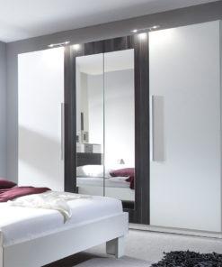 Bílá šatní skříň se zrcadlem Veria boc