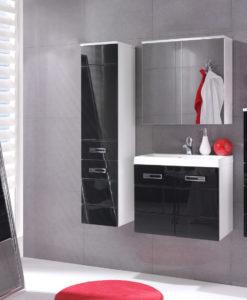 Koupelnový nábytek Demario - bílá / černý lesk