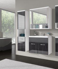 Nábytek do koupelny Horace - bílá / černý ořech lesk