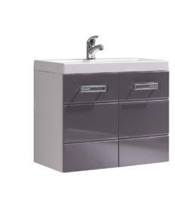Dvoubarevná dolní skříňka pod umyvadlo Demario - bílá / šedý lesk