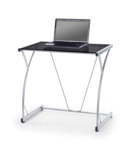 PC stolek Adir - černé sklo
