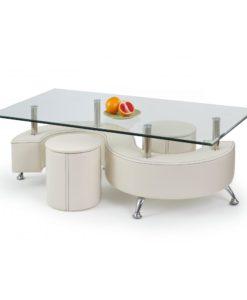 Skleněný konferenční stolek s taburety Ronen 3